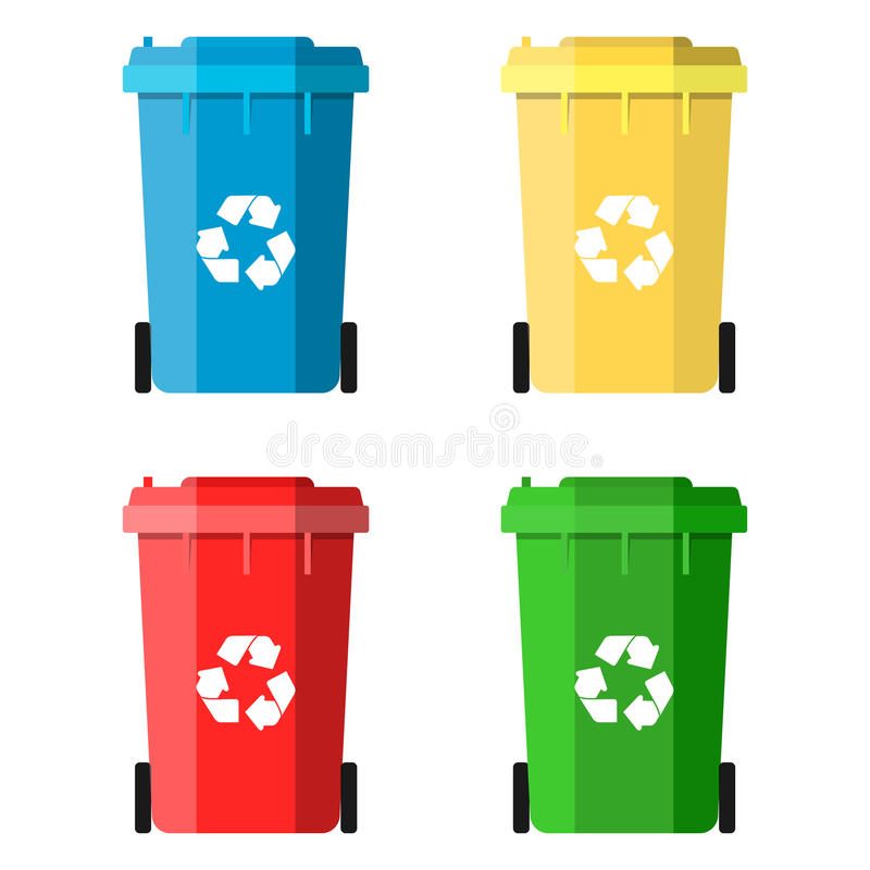 Set Recycle Bins for Trash and Garbage. Isolated on White Background. Waste management concept. Vector illustration in flat design vector illustration