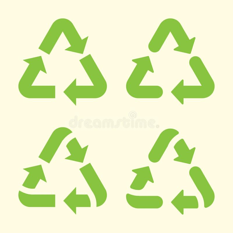Set of recycling arrows icon. Vector illustration.  royalty free illustration