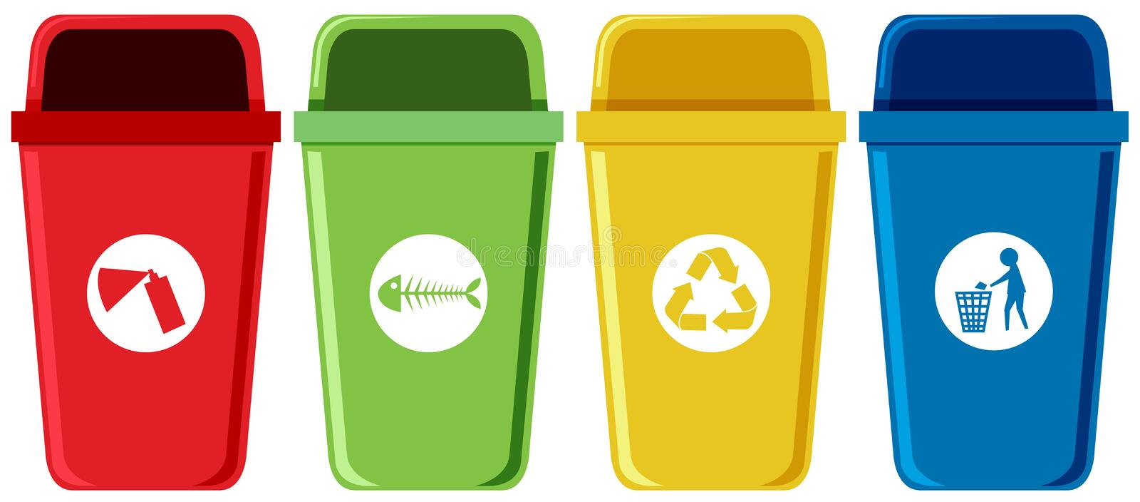Set of recycling bins stock illustration