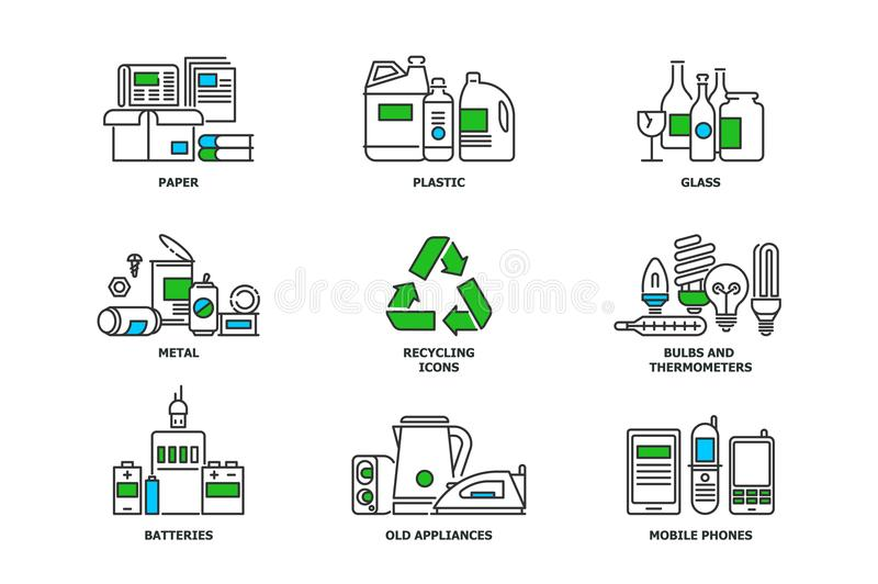 Set of recycling icons in line design. Recycle vector flat illustrations. Waste paper, metal, plastic, glass, bulbs, e stock illustration