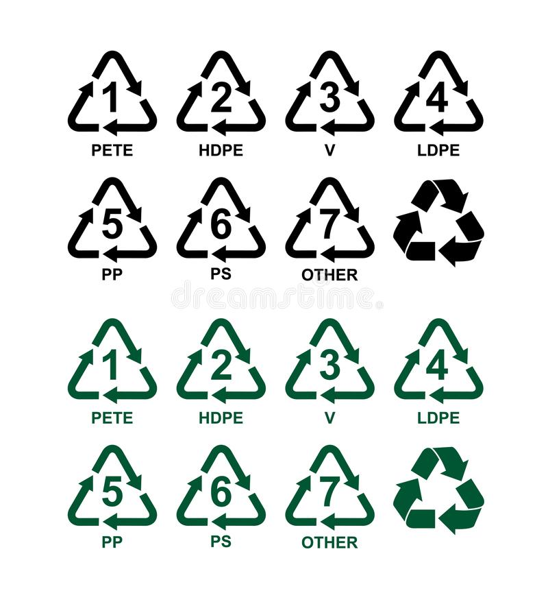 Set Of Recycling Symbols For Plastic Green And Black Vector Signs