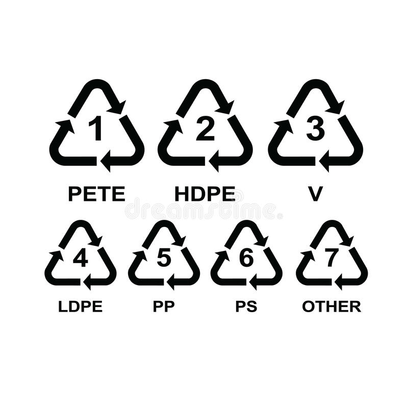 Set Of Recycling Symbols For Plastic Stock Vector Illustration Of