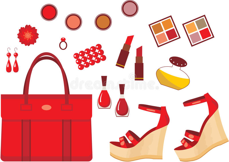 Download Set of red accessories stock vector. Illustration of feminine - 25871514