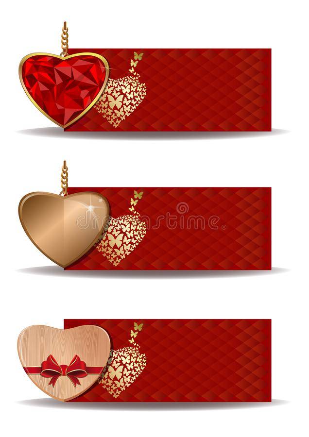 Set of red banners with hearts. Vector backgrounds for birthday, Valentines day, wedding, engagement and other romantic events. Vector colorful festive banners royalty free illustration