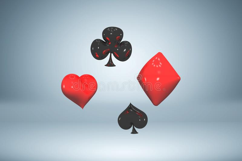 Set of red and black glossy paint card suits, flying playing card symbols, 3d rendering royalty free illustration