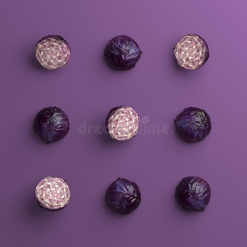 Set of red cabbages array as a tic tac toe game board on a purple background stock image