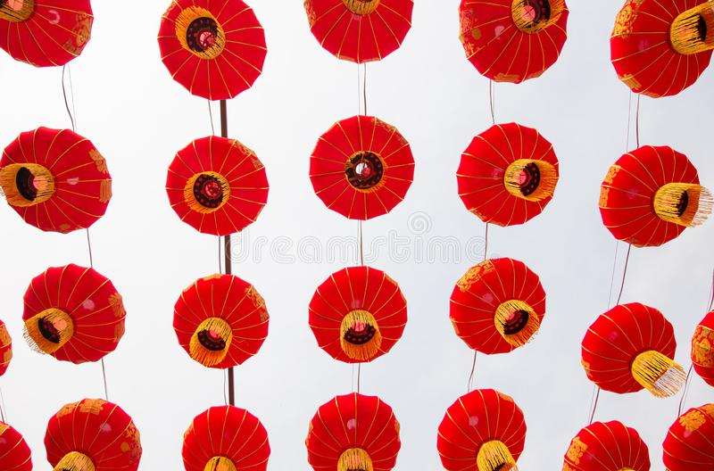 Set of Red Chinese Lanterns Circular. Lamps on White Background. Always found in Chinatown, decor for Asian New Year.Translation for Chinese characters the royalty free stock photos