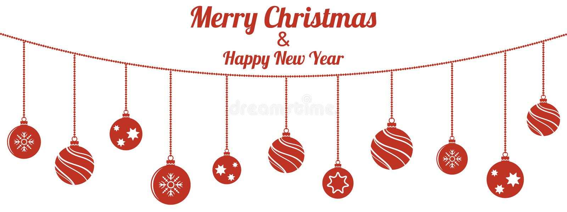 Set of red Christmas balls hanging on white background vector illustration