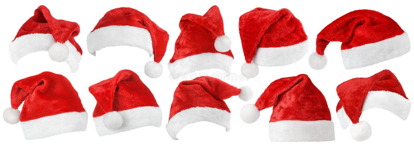 Set of Santa Claus red hats on white stock image