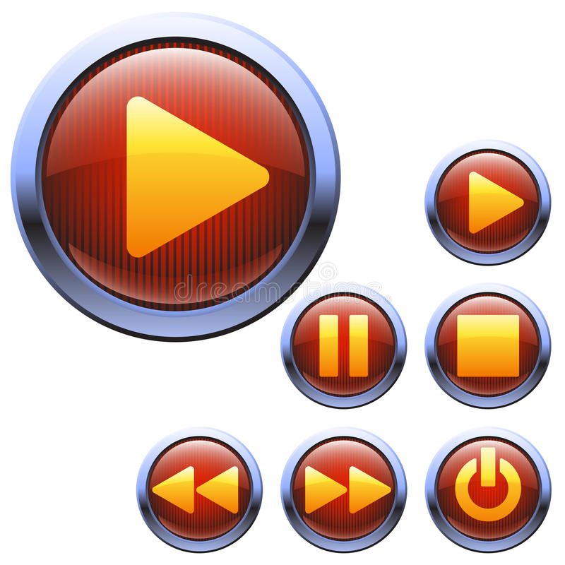 Set Red Color Icons For Media Player Stock Vector - Image: 36422256