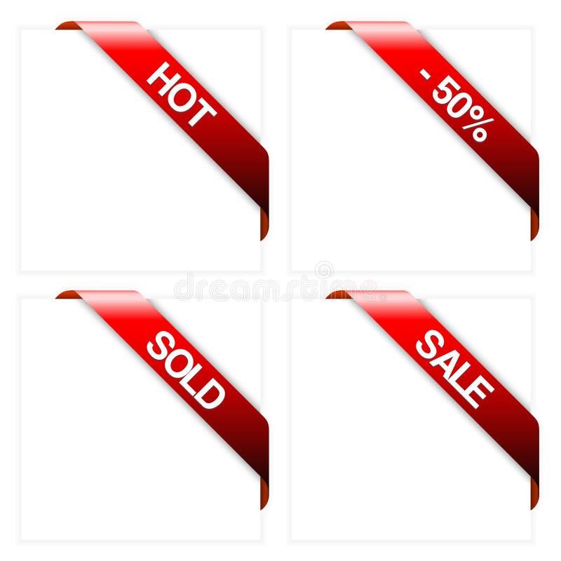 Set of red corner ribbons royalty free illustration