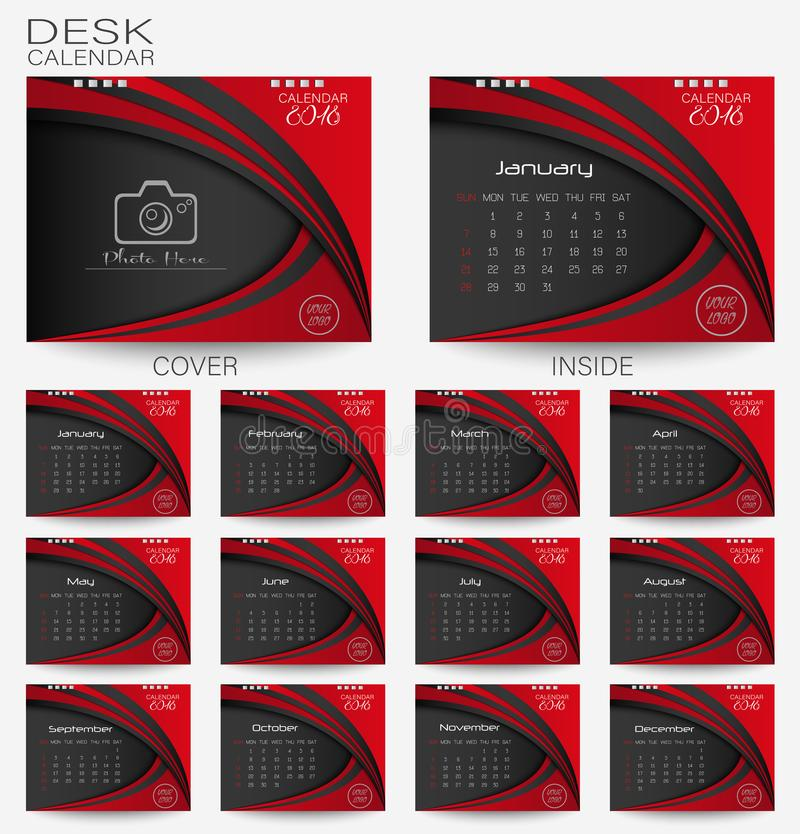 Set red desk Calendar 2018. Design template with place for photo and week starts on monday royalty free illustration