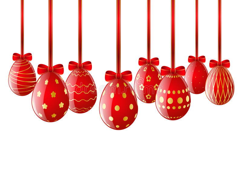 Set of red Easter eggs with ribbon stock illustration