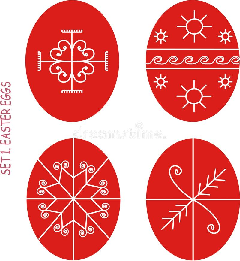 A set of red Easter eggs with white ornament in the Ukrainian style. Folk style, clip art, illustrations, vector stock illustration