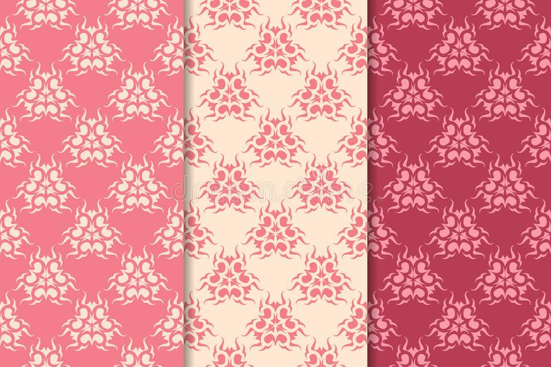 Set of red floral ornaments. Cherry pink vertical seamless patterns stock illustration