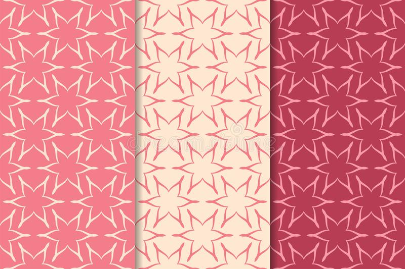 Set of red floral ornaments. Cherry pink vertical seamless patterns vector illustration