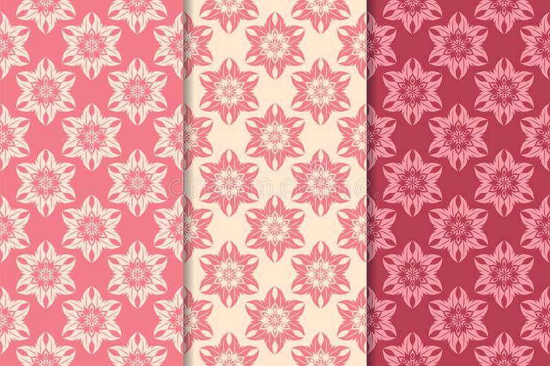 Set of red floral ornaments. Cherry pink vertical seamless patterns royalty free illustration