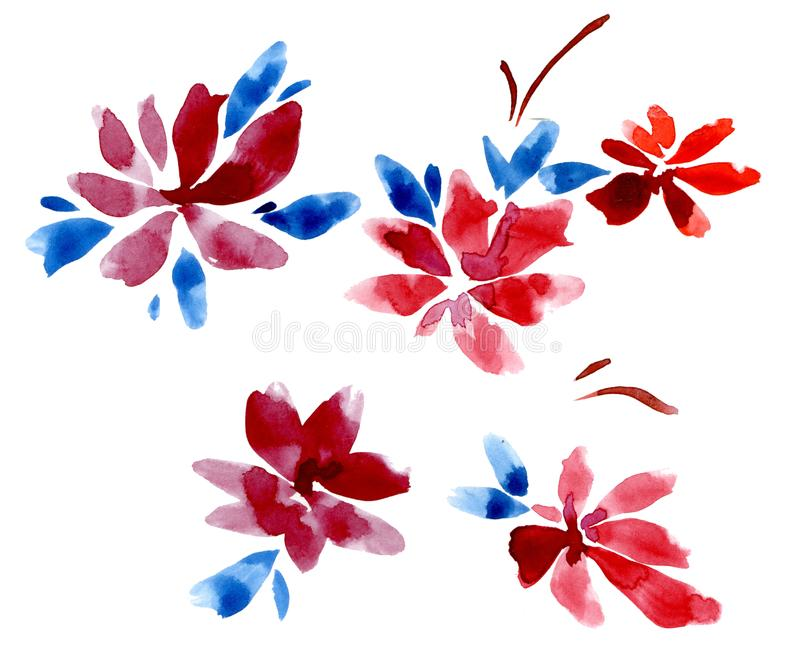 Set of red flowers and blue leaves on a white background. stock image