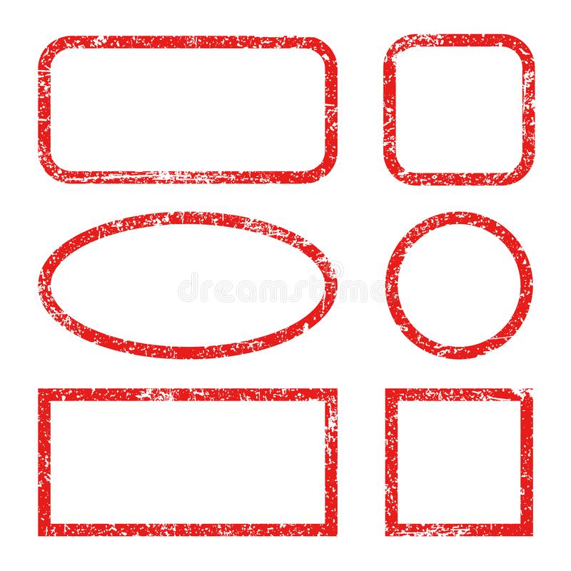 Set red frames of rubber stamp icons, grunge scratching post stamp templates isolated -  vector illustration