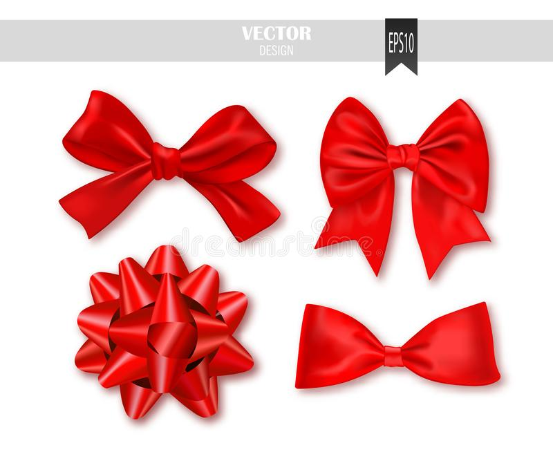 Set of red gift bows with ribbons. Vector illustration. stock illustration
