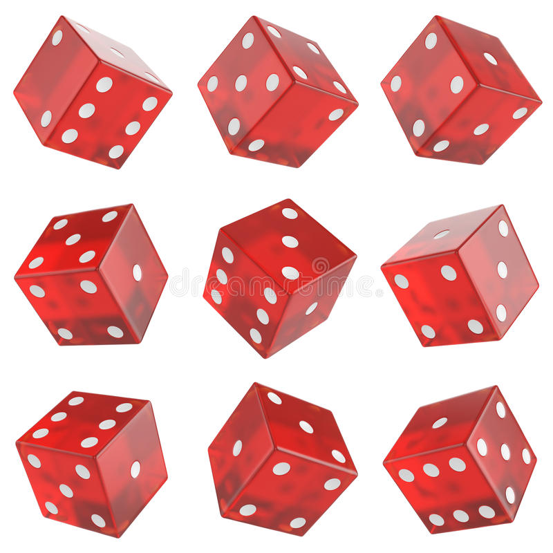 Set red glass dice vector illustration