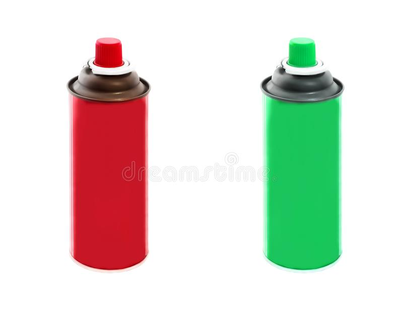 Set of red and green colors spray paint cans isolated on white background royalty free stock image