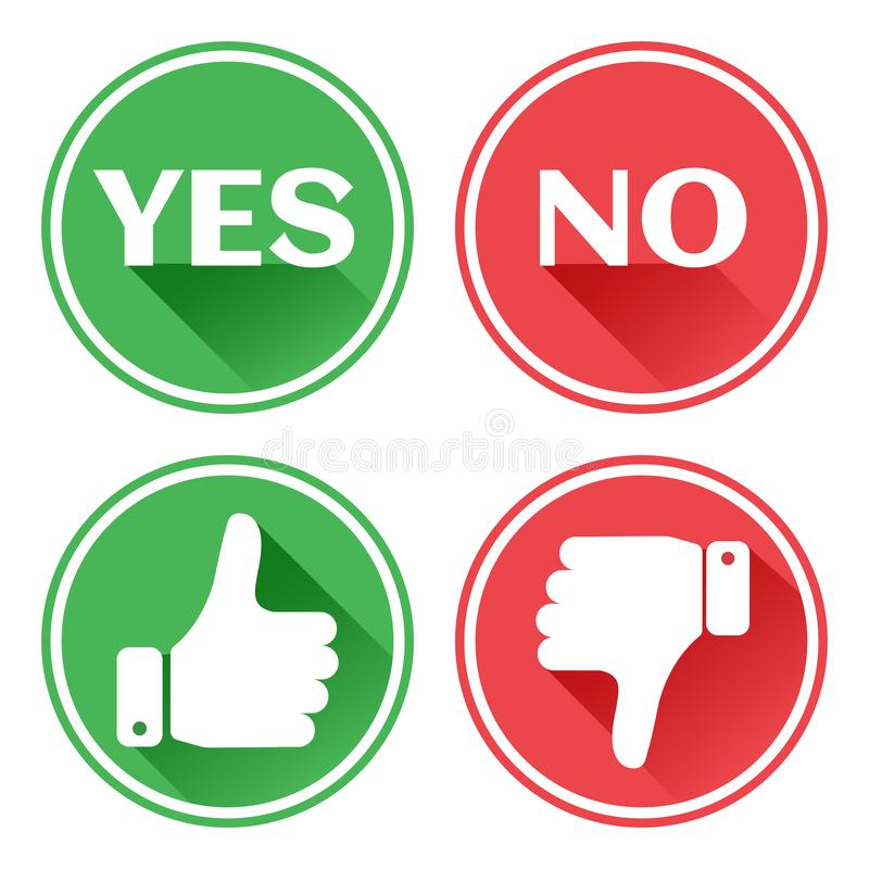 Set red and green icons buttons. Thumb up and down. Like and dislike. Confirmation and rejection. Yes and no. Vector stock illustration