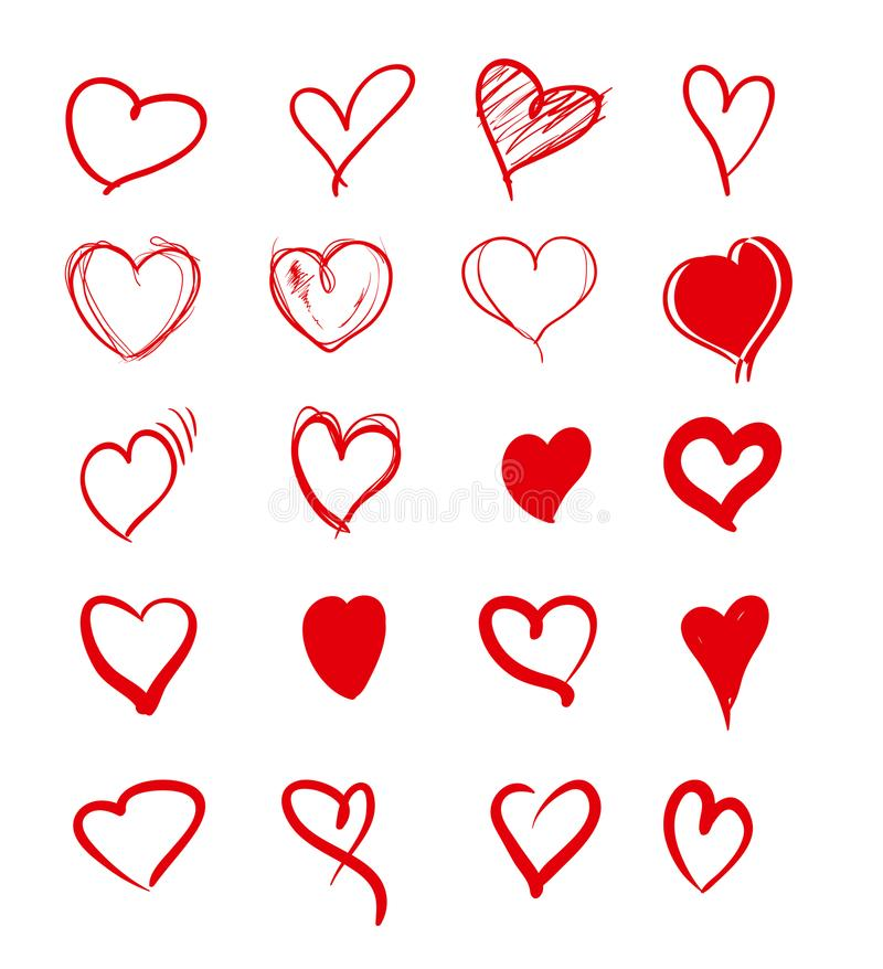 Set of red grunge hearts. vector illustration