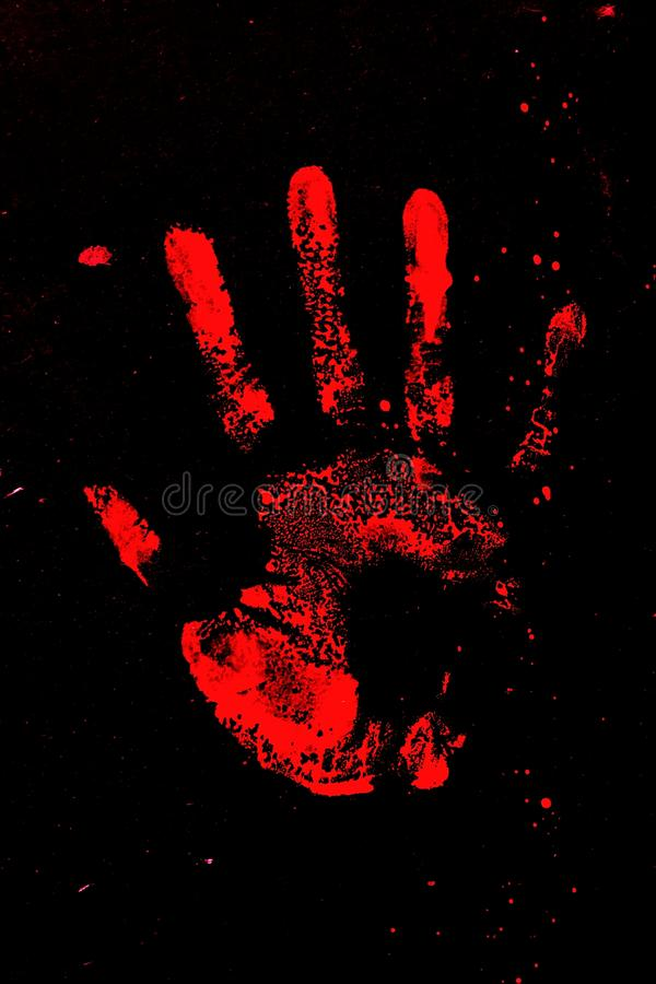 Set of red hand prints on black background royalty free stock images