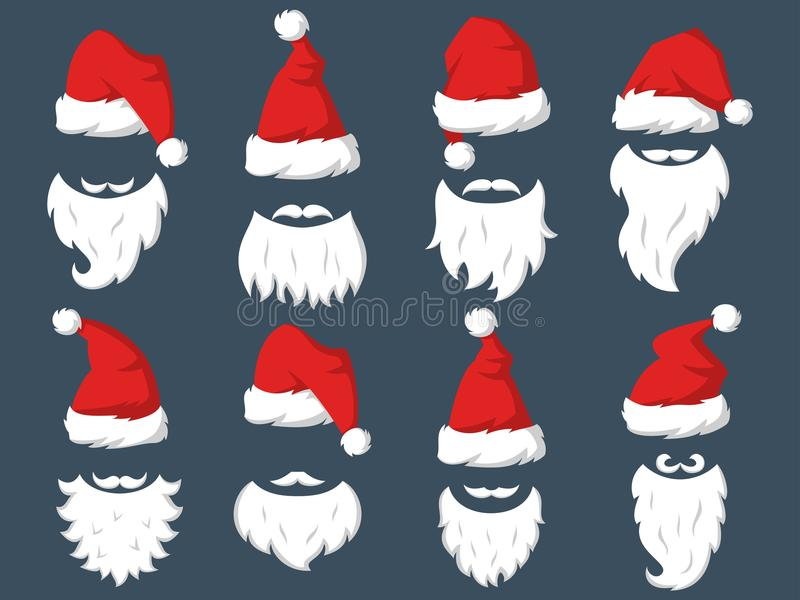 Set of Red hats and beards of Santa Claus. vector illustration