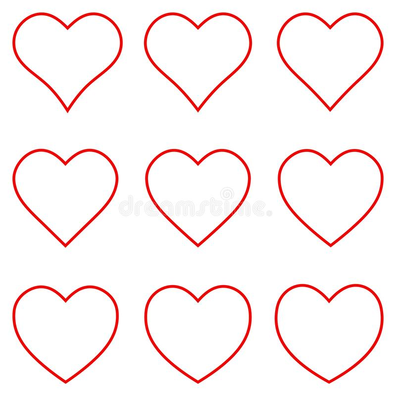 Free Set Red Heart Shape Outline Stroke Icon Vector Set Heart Shape Stroke Outline, Love Sign Symbol For Valentine Day Royalty Free Stock Photography - 165561497