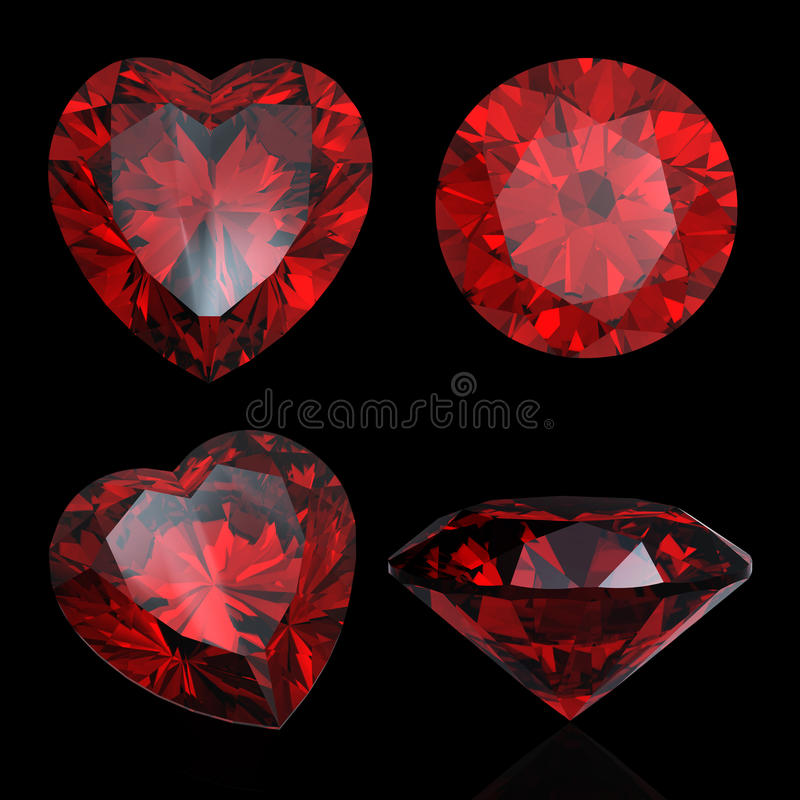 Set of red heart shaped ruby and garnet. Isolated. Gems different cut perspective royalty free illustration