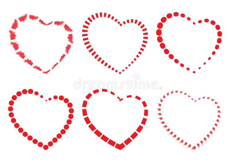 Set of red hearts. Vector illustration stock illustration