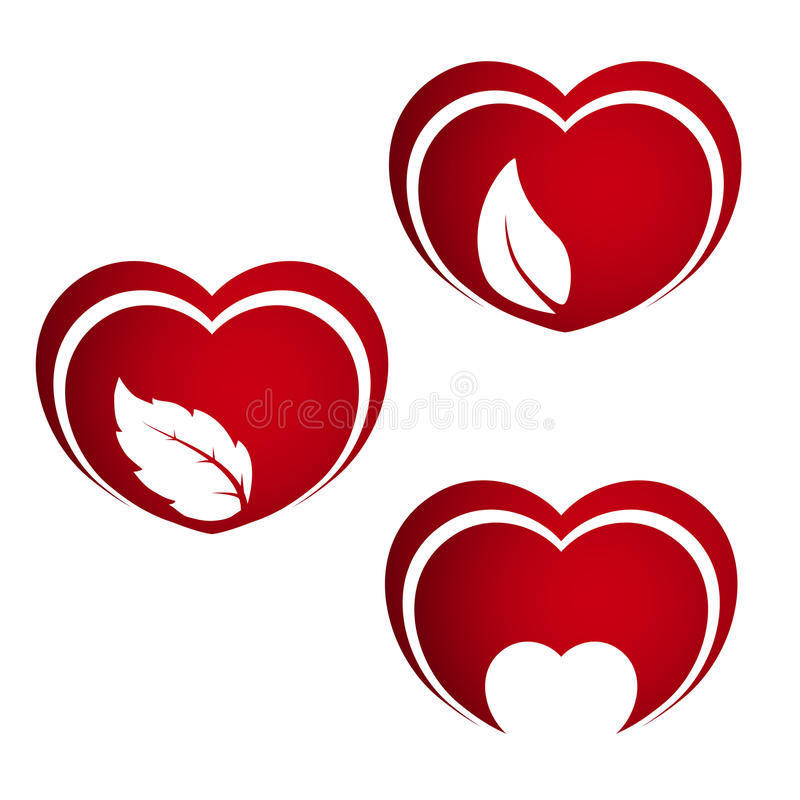 Set Of Red Hearts Symbols Of Natural Energy Heart With Leaf And