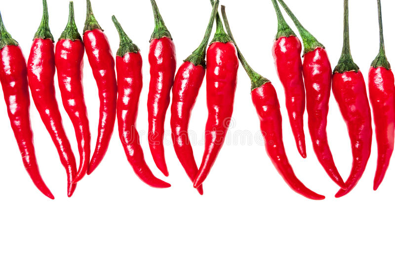 Set with red hot chili peppers on white background royalty free stock photo