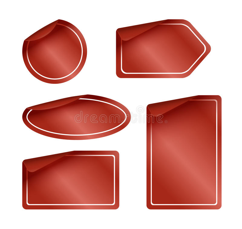 Download Set Of Red Labels With Rounded Corners Stock Vector - Illustration of rounded, discount: 26120452