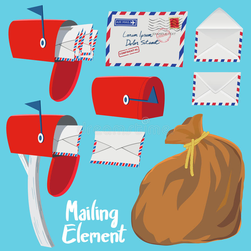 Set of Red Mail box,Letter envelope and Mail bag stock illustration