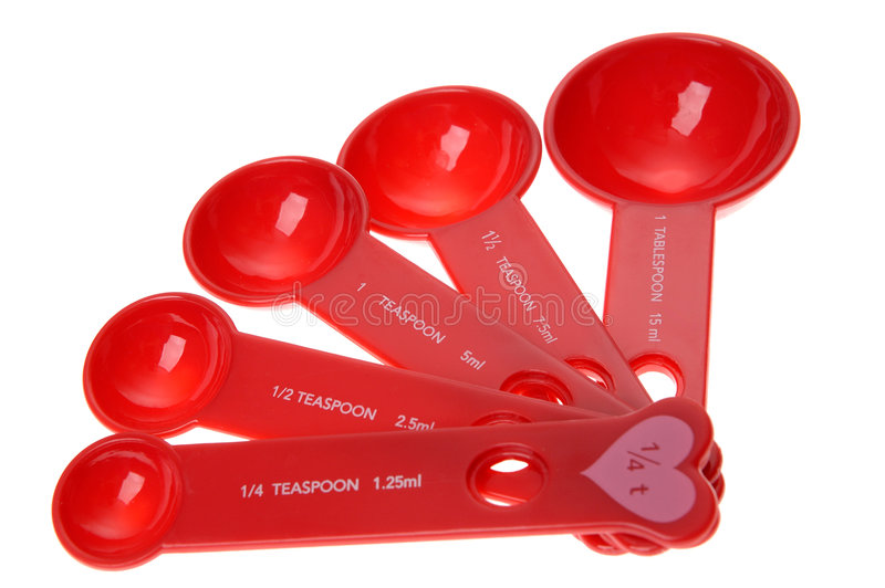 Download Set Of Red Measuring Spoons; Cooking Stock Photo - Image: 1403090