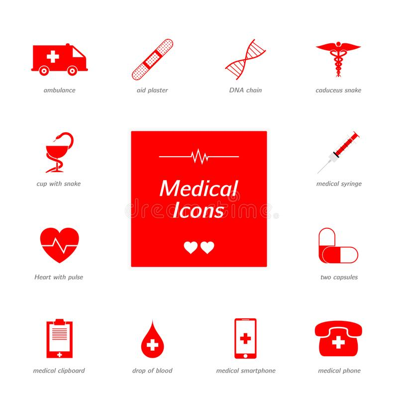 Set of red medical icons. stock photo