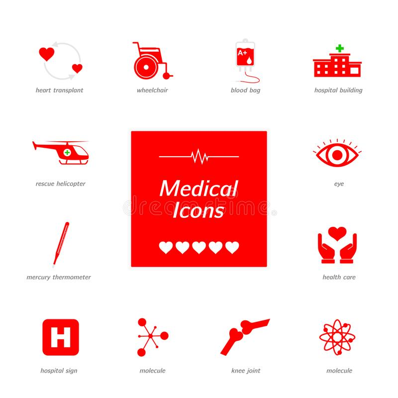 Set of red medical icons. royalty free stock photo