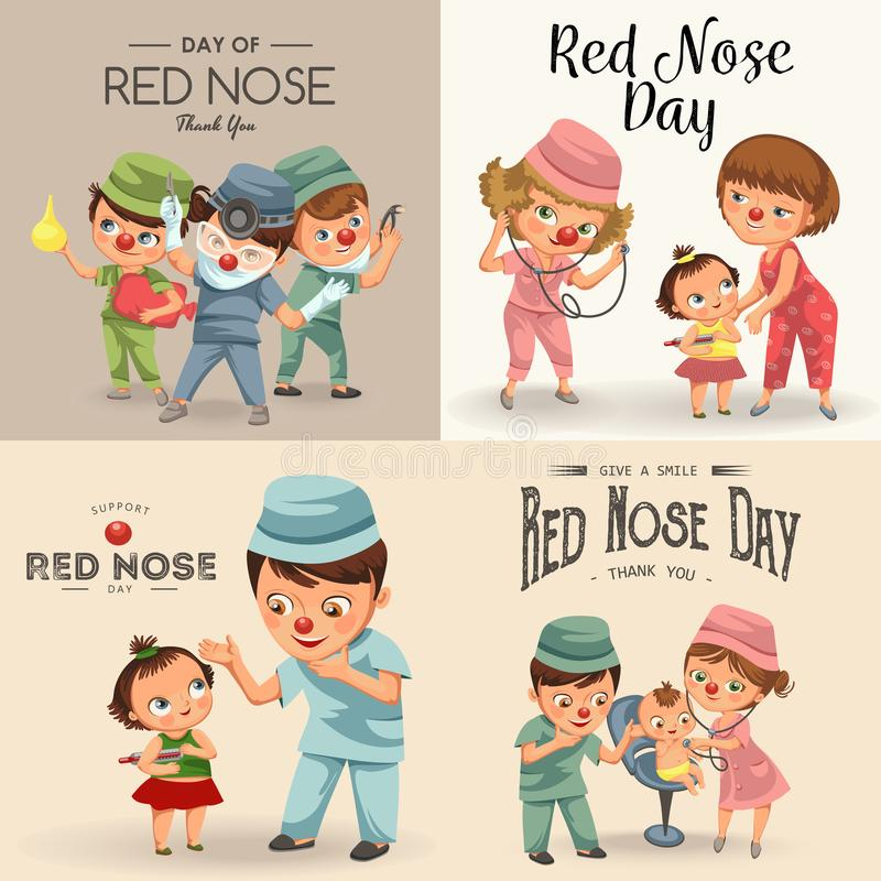 Set red nose day greeting card, medical doctor in hospital with stethoscope helping little patient wear funny clownnose. Nurse help childrens health care vector illustration
