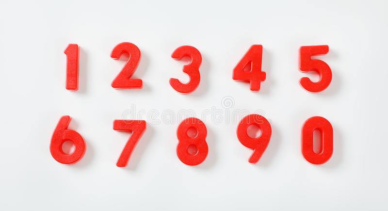 Set of red numbers stock images