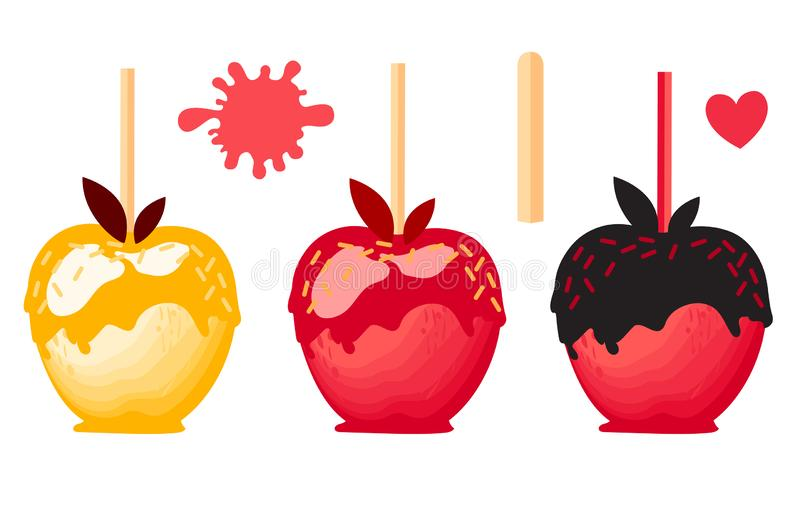 Set Red and orange Apple with chocolate Sweet candy on sticks. Autumn dessert. Vector illustration on white background. stock illustration