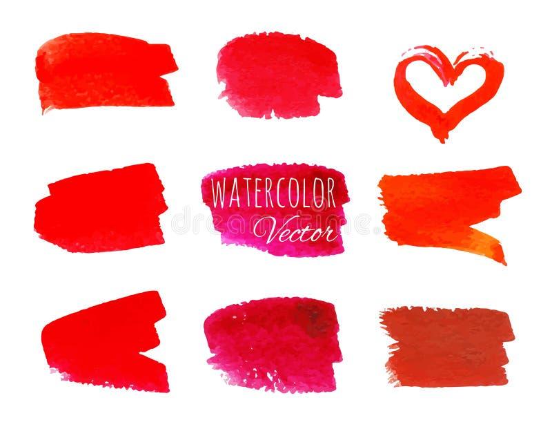 Set of red paint brush strokes stock illustration