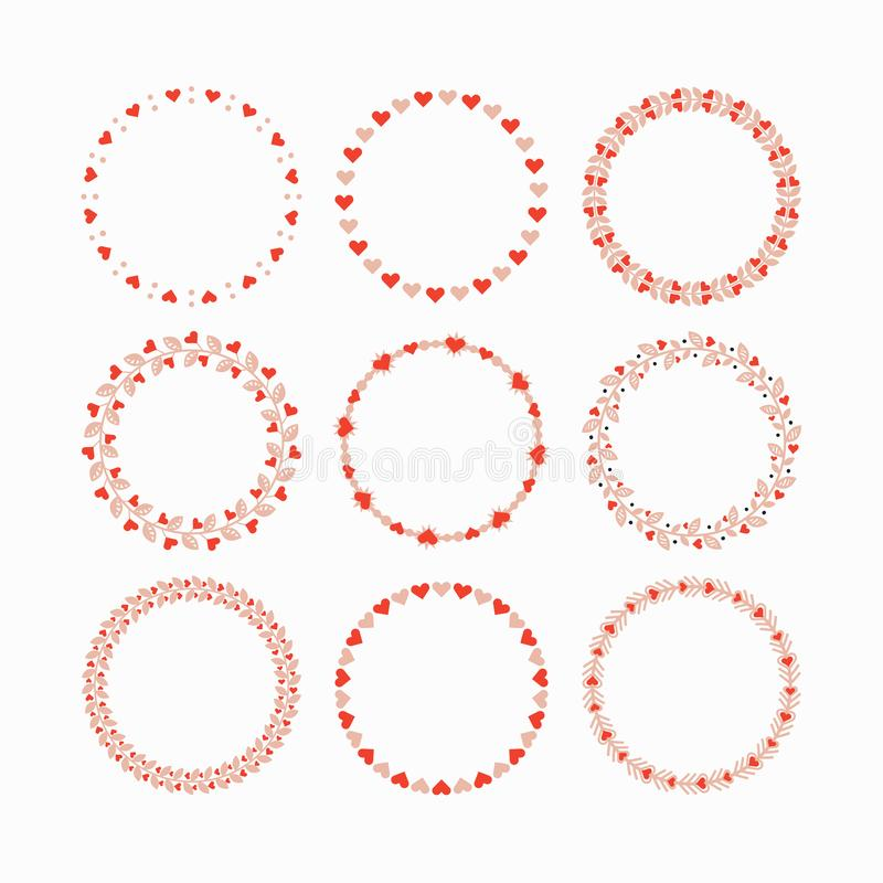 Set of red and pink heart wreaths and circle border decorative emblems on white background vector illustration