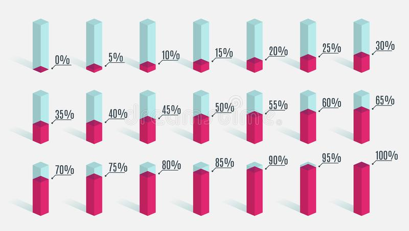 Set of red pink percentage charts for infographics, 0 5 10 15 20 25 30 35 40 45 50 55 60 65 70 75 80 85 90 95 100 vector illustration