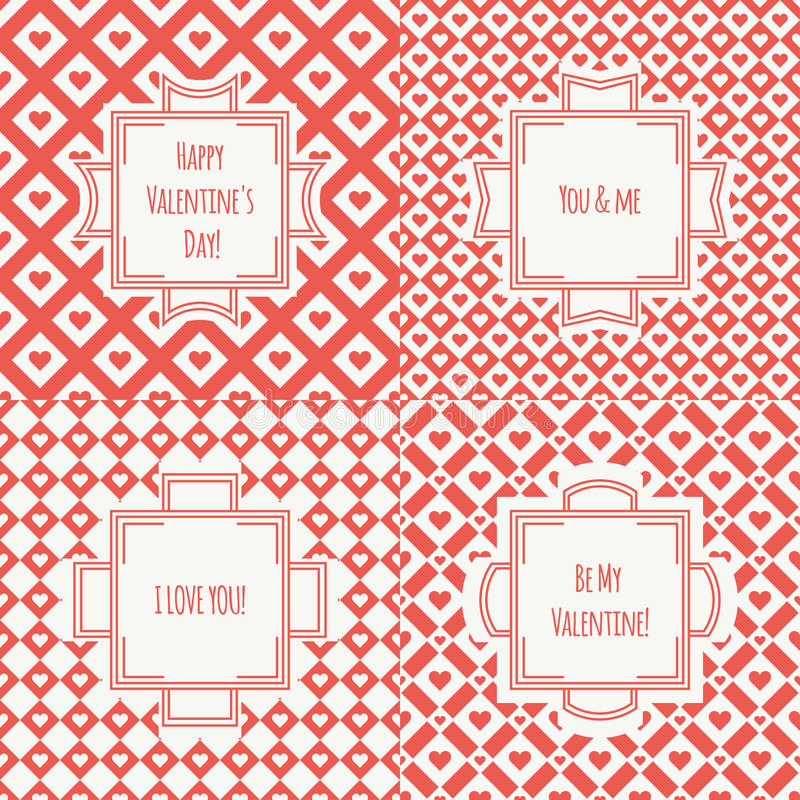 Set of red, pink romantic seamless pattern. With hearts. Collection of wrapping paper. Vector illustration. Background. Valentines day. Vintage frames. Cards stock illustration