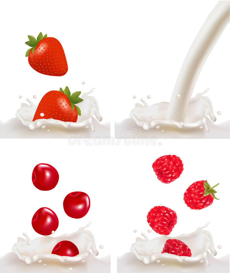 Set with red raspberry, strawberry and cherry. Fruits falling into the milk splash. Vector illustration royalty free illustration