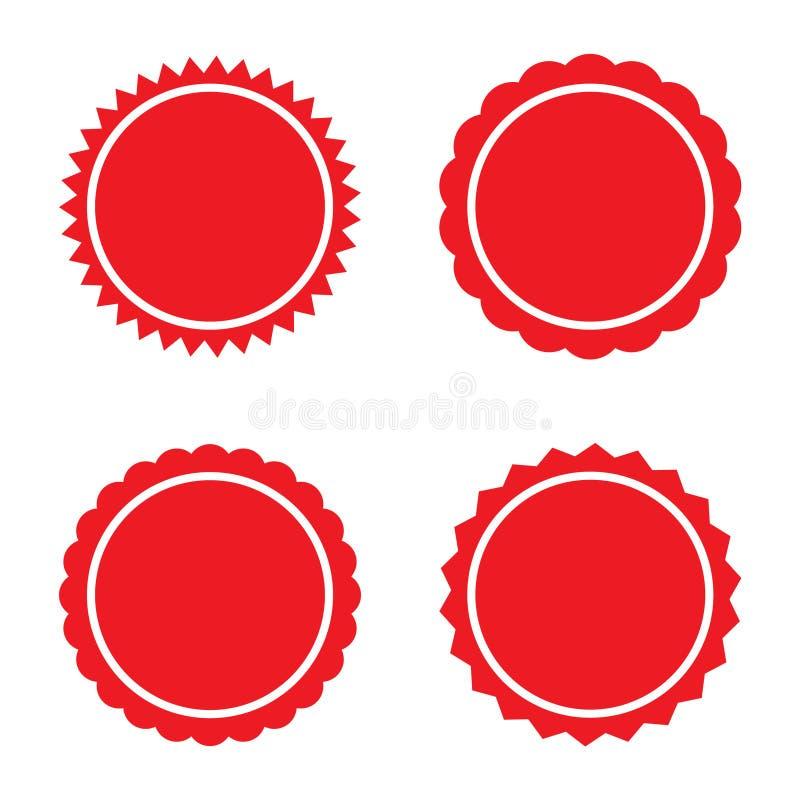 Set of red retro blank starburst, sunburst badges. Vector illustration. Set of red retro blank starburst, sunburst badges. n Vector illustration isolated vector illustration