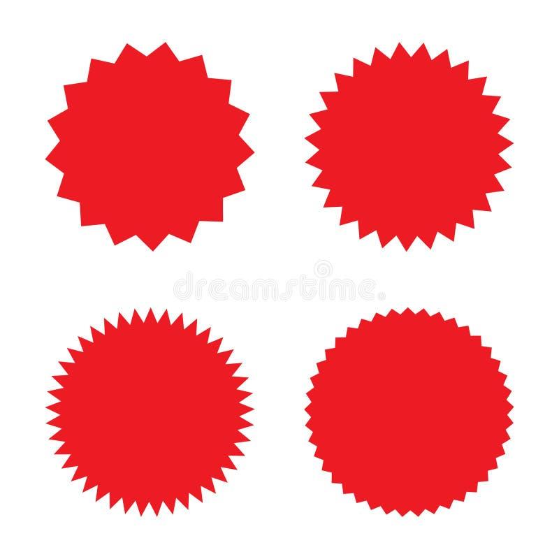Set of red retro blank starburst, sunburst badges. Vector illustration. Set of red retro blank starburst, sunburst badges. Vector illustration isolated stock illustration